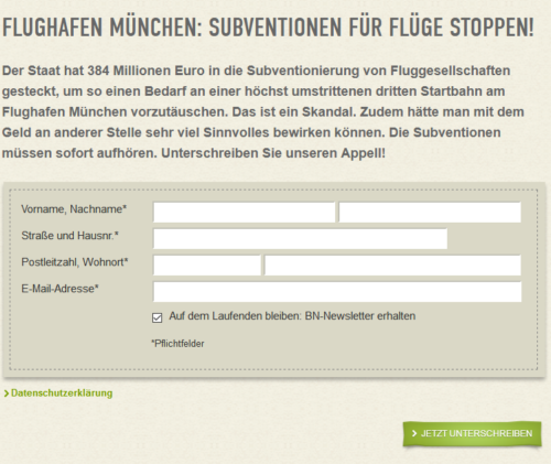 """Subventions-Petition"" nun auch Online."
